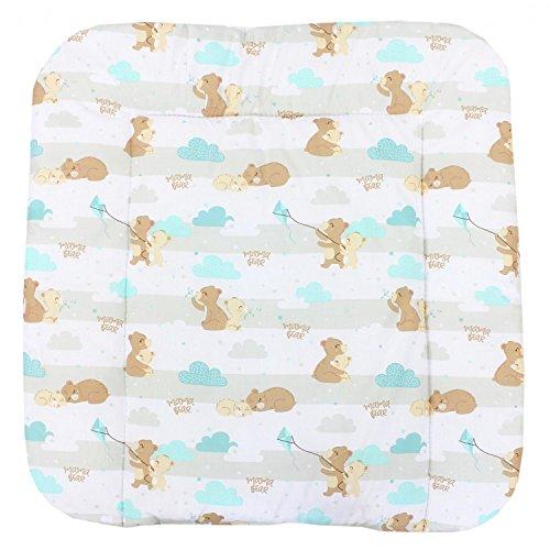 TupTam Baby Wickeltischauflage mit Baumwollbezug Gemustert, Farbe: Mama Bär Mintgrün, Größe: 70 x 70 cm