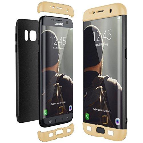 Samsung Galaxy S7 S7Edge Kante Hülle,3 in 1 Ultra-Dünne Anti-Kratzer Hard PC Case Cover mit Stoßfänger Anti-Rutsch Matt für Galaxy S7 Edge G9350 Cove Gold schwarz