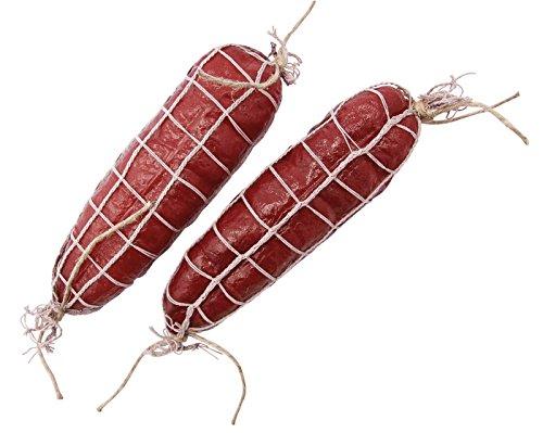 2er SAT attrappen-Finta alimentare: cavo del salame salame naturale-hohlattr Appe al palcoscenico, würstel finta decorativo, in plastica, alimenti imitazione, finto Food decorativo, idea regalo