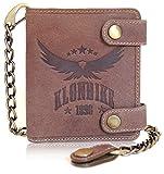 Klondike 1896 Portefeuille'Tim Eagle' en cuir véritable, porte-monnaie haute qualité avec chaîne, marron