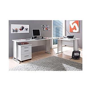 Stella Trading Office Line Eckschreibtisch, Winkelkombination inkl. Container, Holzdekor, Weiß,  (B/H/T) 220/170 x 72 x 70 cm