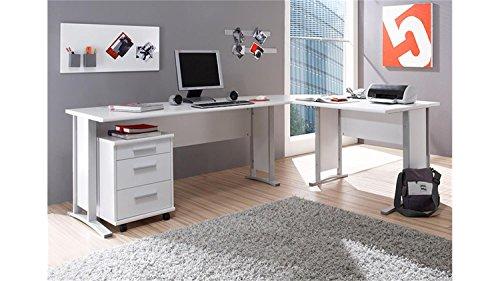 Stella Trading Office Line Eckschreibtisch, Winkelkombination inkl. Container, Holzdekor, Weiß,  (B/H/T) 220/170 x 72 x 70 cm -