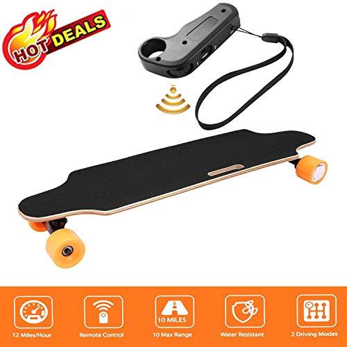 fiugsed Elektrisches Skateboard - 27,5 Zoll Longboard Skateboard mit Funkfernbedienung auf Vier Rädern,Höchstgeschwindigkeit 20km/h zu Senden des Ladegeräts Fernbedienung (Orange-Style2)