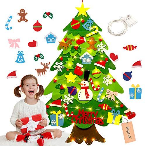 Justdolife Feltro Albero Natale,3.2ft Albero di Natale con 50 luci a LED 32 Staccabili per i Bambini DIY Natale Albero Regali di Natale di per la Decorazione della Parete del Portello dei Bamb