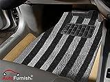 #5: Autofurnish Anti Skid Curly Car Foot Mats (Black Grey Arc Stripe) for Volkswagen Vento