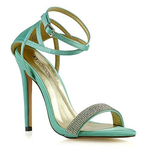 Essex glam donna tacco a spillo cinturino alla caviglia sandali le signore tacco alto nuziale festa scarpe (38 eu, turchese satin)