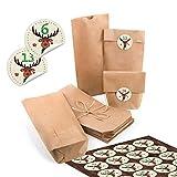 24 kleine braune Papiertüten natur Kraftpapier 10,7 x 22 x 4,2 cm + 1 bis 24 Nummern Zahlen rund HIRSCH Rentier Aufkleber Adventskalender Kalender basteln befüllen Mini-Tüten