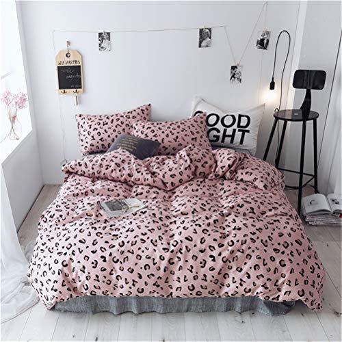 he Bettdecke Sets, 4 Teilig 1*Bettbezug 1*Flaches Blatt 2* Kissenbezüge, Single/Queen/King, 100% Baumwolle Mikrofaser Reißverschluss, Leopard-Druck,Pink,King220×240cm ()