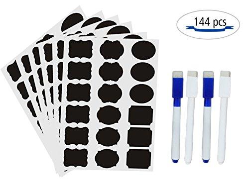 Onebycitess Chalkboard Labels Aufkleber für Mason Jars 144 Stück mit 4 Chalk Maker Waterproof Schwarz Chalk Board Kleine Adhesive Blackboard für Lebensmittel-Lagerung, Speisekammer, Craft Rooms, Schränke, Home, Küche, Büro und Schule zu organisieren (2 Tasse Glas Vorratsbehälter)