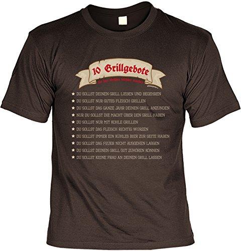 T-Shirt 10 Grillgebote die das Grillen leichter machen Grill T-Shirt Geschenkidee Grillen Grill Party Geschenk zur Grillsaison Braun