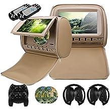 Mvpower 2X 9'' Reposacabezas para coche Reproductor de DVD Multimedia Monitor pantalla LCD, con 2pcs Auriculares infrarrojos (Beige)