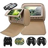 Mvpower Poggiatesta Auto Universale, 2 x 9'' Lettore DVD Da Vacanze, Sistema Multimedia Con 2 x Cuffie IR Wireless, Telecomando Come Joystick Per Video Game (Beige) immagine