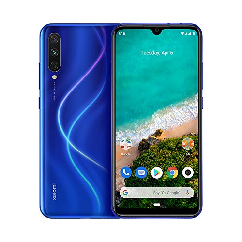 "Xiaomi Mi A3 - Android One, AMOLED de 6,088"" (Cámara Frontal de 32 MP, Trasera de 48 + 8 + 2 MP,4030 mAh, Jack de 3,5 mm, Qualcomm Snapdragon 665 2,0 GHz, 4 + 64 GB) Color Azulón [Versión española]"