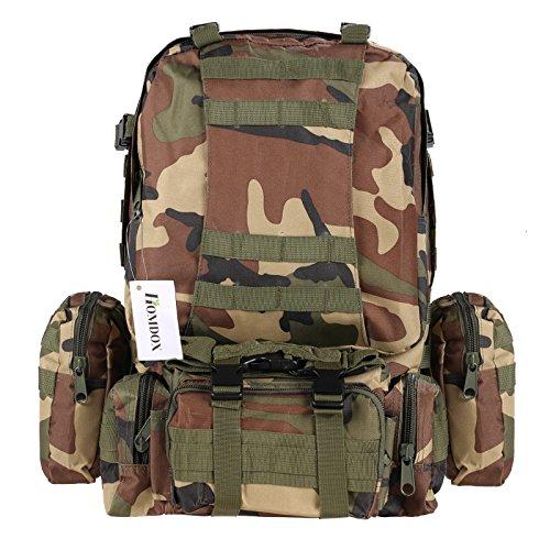 Homdox US Assault Pack Large (Rucksack), Abnehmbare Außentasche, Bergsteigen Taschen, Fahrradtaschen , Sporttaschen,ca. 36-55L , 5 Farben