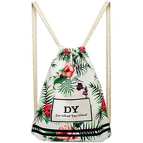 FEOYA Mochila Bolsa con Cordones para Mujer Hombre chica tipo saco de Deporte playa
