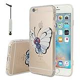 Apple iPhone 6/ 6s Étui HCN PHONE Coque silicone TPU Transparente Ultra-Fine Dessin animé jolie Pokémon Go pour Apple iPhone 6/ 6s + mini stylet - Butterfree
