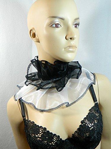 Halskrause schwarz weiß Kragen Clown Harlekin Pierrot Verkleidung Kostüm Halsband - Harlekin Und Pierrot Kostüm