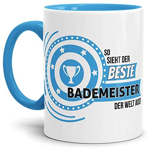 Tassendruck Berufe-TasseSo Sieht der Beste Bademeister aus Innen & Henkel Hellblau/Job/Tasse mit Spruch/Kollegen/Arbeit/Fun/Mug/Cup/Geschenk Qualität - 25 Jahre Erfahrung