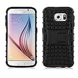 JAMMYLIZARD Outdoor Hülle für Samsung Galaxy S6 | Schutzhülle [Alligator] Doppelschutz Handyhülle Hardcase aus Polycarbonat und Silikon Backcover Lifeproof Case Cover, Schwarz