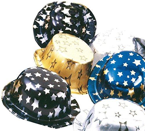 Ciao - Set 5 Cappelli a Cilindro/Bombetta in PVC, Metallizzati con Stelle, Soggetti e Colori Assortiti