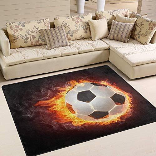 Flächenteppich 63x48 Zoll Sport Ball Feuer Fußball Fußball für Wohnzimmer Schlafzimmer (Marienkäfer-fußball-ball)