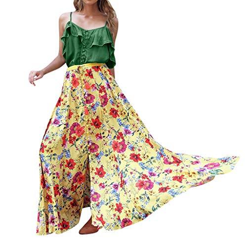 themd Bluse Tees Damen Böhmische Strandurlaub Wind Zweiteilige Full-Boxed Plissee Printed Dresses ()