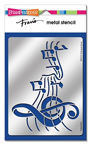 Stampendous Fran del metallo Stencil musicale, in acrilico, multicolore - Metallo Stencil