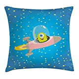 NGDUTZ Outer Space Decor Throw Pillow Cushion Cover, Cute Alien with Circle Saucer in Star Cluster Elliptical Journey Cartoon Print, Decorative Square Accent Pillow Case, 18 X 18 Inches, Multi