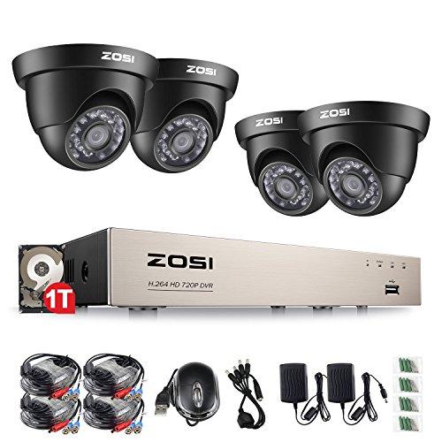 ZOSI CCTV HD 720P Video Überwachungssystem 1TB Festplatte 8CH 4in1 TVI AHD DVR mit 4 Außen 720P Dome Überwachungskamera Set für Innen und Außen, 20M IR Nachtsicht, Kabelgebunden Linux-cctv-dvr