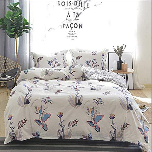 SHJIA ägyptischer Baumwolle Satin Bettwäsche-Sets Bettbezug Blumendruck Mädchen Pastorale Prinzessin B 200x230cm - Satin Wasserbett Blätter
