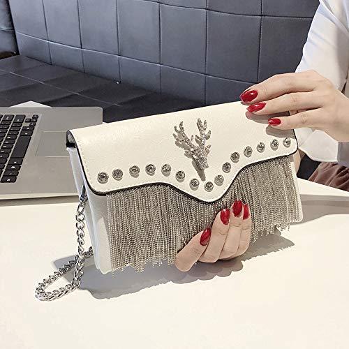 LFGCL Taschen womenFringed Handtasche Persönlichkeit Mode wild Temperament Clutch Bag weiblich, weiß