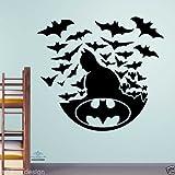 Batman mit Schlägern Wandtattoo Kinder Aufkleber Kinder Zimmer Jungen Transfer, Vinyl, schwarz, -Large -SIZE 60cm x 60cm
