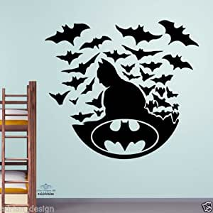 Batman with BATS Wall Sticker kids decal children room boys transfer -Large -SIZE 60cm x 60cm -Black