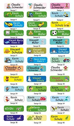 INDIGOS UG® Namensaufbügler / Aufbügler / Namen-Etiketten - 5x1,5 cm - 60 Stück für Kinder, Schule und Kindergarten - gedruckte Wäsche-Etiketten in Spitzenqualität zum Aufbügeln - waschmaschinenfest
