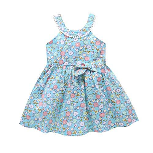 Modaworld Baby-Kleid für Mädchen, Baby, bedruckt, doppelter Bogen, Rüschenärmel, Prinzessinnen-Kleid mit Rüschenärmeln mit Doppelschleife und bedruckt, 1 - 6 Jahre 110 hellblau -