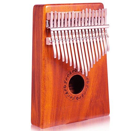 Gecko Koa Ton Holz 17Schlüssel Kalimba, hochwertige Akustikgitarre Professionelle Finger Daumen Piano