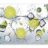 murando - Fototapete Küche 250x175 cm - Vlies Tapete - Moderne Wanddeko - Design Tapete - Wandtapete - Wand Dekoration - Obst Limone Zitrone grün weiß Wasser Eis 10110908-3