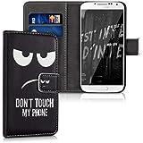 kwmobile Wallet Case Kunstlederhülle für Samsung Galaxy S4 - Cover Flip Tasche in Don't touch my Phone Design mit Kartenfach und Ständerfunktion in Weiß Schwarz