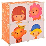[Neu.haus] Estantería infantil DIY con 4 compartimentos de motivos naranja, transparente [74x74cm] estantería ensamblable de plástico