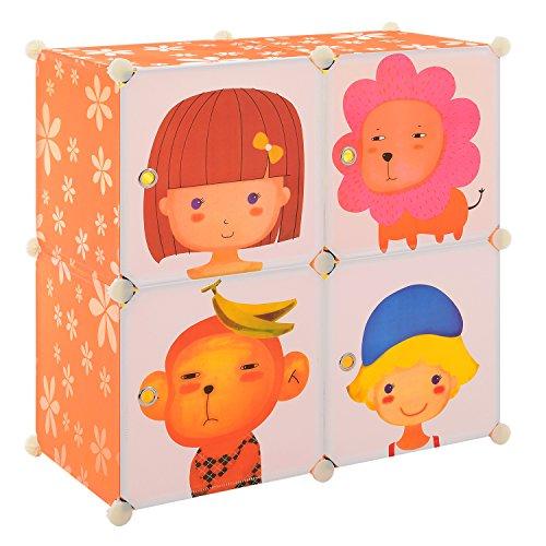 [neu.haus] Kinder Regalsystem DIY mit 4 Fächern Motiv [74x74cm] Kunststoff Steckregal