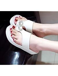 Diamond zapatillas, sandalias de tacón alto, prevención de deslizamientos, simple y bonita playa zapatillas,36 blanco (B-28) de la placa de luz