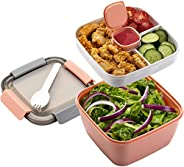 TIM Salad Lunch Container To Go, 52-oz Salad Bowls with 3 Compartments, Salad Dressings Container for Salad To