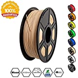 SUNLU 3D Printer Filament PLA, 1.75mm PLA WOOD Filament, 3D Printing Filament Low Odor, Dimensional Accuracy +/- 0.02 mm, 2.2 LBS (1KG) Spool, Wood