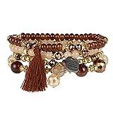 Prosperveil folk Multilayers, con catenina con perline di cristallo colorato braccialetto gioielli Decor, colore: Coffee, cod. 190555