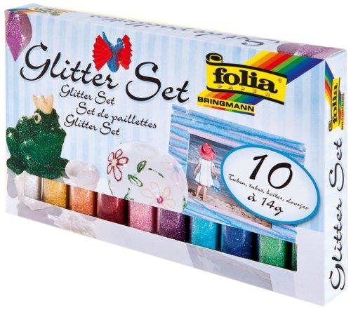 Folia Glitter Set mit 10 Röhrchen Glitterpulver