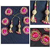 #6: XLDreams 6 Beautiful Pink Colour Patches and pair of Pink color Latkans for Blouse/Saree/Dress Desig