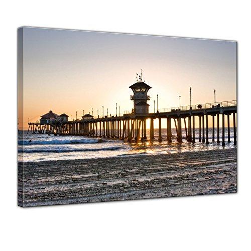 Keilrahmenbild - Huntington Beach - Kalifornien - Bild auf Leinwand - 120x90 cm einteilig - Leinwandbilder - Urlaub, Sonne & Meer - Amerika - Sonnenaufgang - Sonnenuntergang