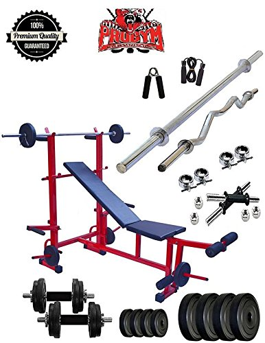 ProDuman 30 Kg Home Gym 8-in-1 Multi Weight Excercise Bench 3 ft+5ft dumbblle set,free gift offer limited Fitness Kit Combo