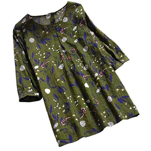 MEIbax Frauen Damen Drei Viertel Ärmel Druck Lose Bluse Pullover Button Tops Shirt Baggy Blumendruck Hemd Bluse