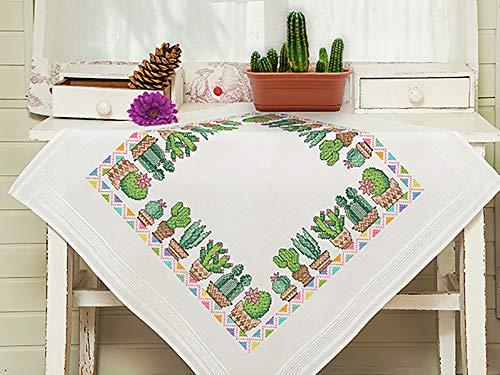 Kamaca Stickpackung Tischdecke KAKTEEN Kreuzstich vorgezeichnet aus 100% Baumwolle zum Selbersticken (Mitteldecke 80x80 cm)